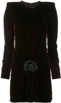 Saint Laurent velvet structured shoulder dress