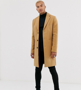 Asos Design DESIGN Tall wool mix overcoat in camel-Tan