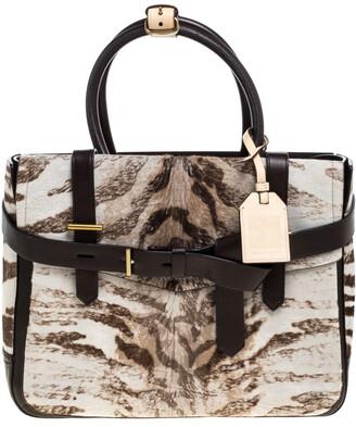 Reed Krakoff Dark Brown/Beige Zebra Print Calfhair and Leather Boxer Tote