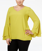 Alfani Plus Size Bell-Sleeve Blouse, Only at Macy's