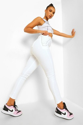 boohoo Lace Up Side Skinny Jeans