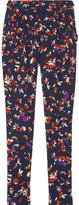Floral-print silk-crepe pants