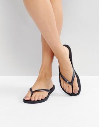 Havaianas slim crystal flip flops in black