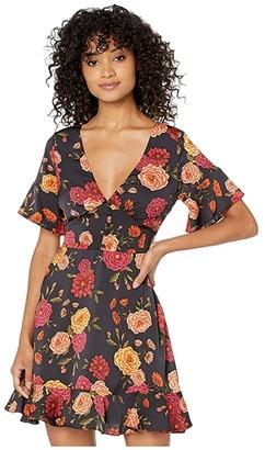 Cupcakes And Cashmere Frankie Barcelona Floral Satin Dress w/ Ruffle Sleeve (Black) Women's Dress