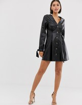 Asos Design DESIGN leather look button through mini skater dress with tie sleeves