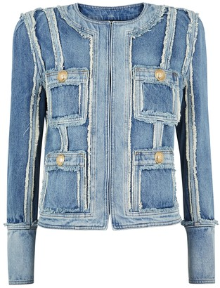 Balmain Light Blue Frayed Denim Jacket