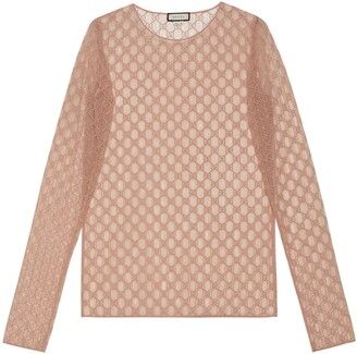 Gucci GG embroidered tulle long-sleeve top