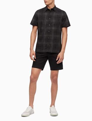 Hatch Print Button-Down Short Sleeve Shirt