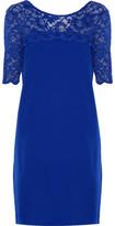 Badgley Mischka Tia Lace-Trimmed Stretch-Cady Mini Dress