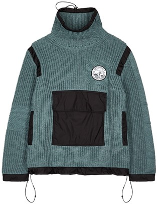 Off-White Blue roll-neck cotton jumper