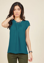 ModCloth Charmer in Charge Top in Teal in XL