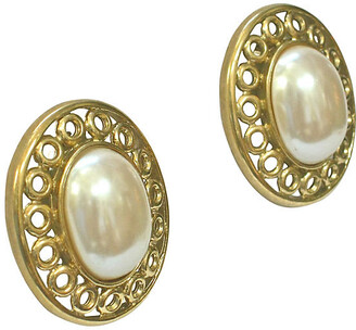 One Kings Lane Vintage Givenchy Gold Glass Pearl Earrings - Wisteria Antiques Etc