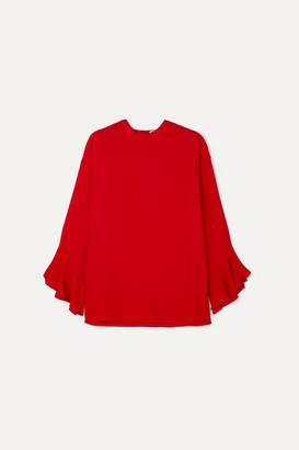 Valentino Ruffled Silk-crepe Blouse - Red