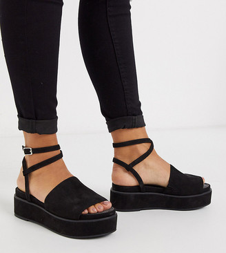 ASOS DESIGN Wide Fit Tabitha chunky flatform sandals in black