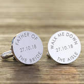 Nest Personalised 'Walk Me Down The Aisle' Wedding Cufflinks