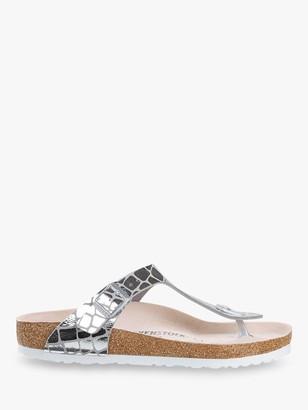Birkenstock Gizeh Croc Print Sandals, Silver
