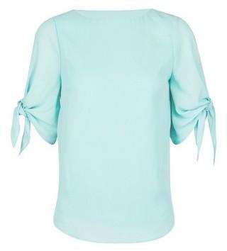 Dorothy Perkins Womens Billie & Blossom Petite Mint Tie Sleeve Top