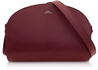 A.P.C. Wine Half Moon Smooth Leather Crossbody Bag