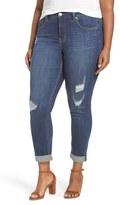 Melissa McCarthy Plus Size Women's Destructed Roll Cuff Stretch Skinny Jeans