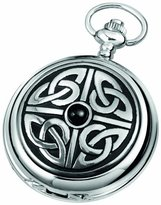 Celtic Woodford Quartz Pocket Watch, 1908/Q, Men's Chrome-Finished Knotwork Pattern with Chain (Suitable for Engraving)
