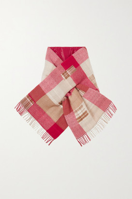 HOLZWEILER + Net Sustain Fringed Padded Checked Wool And Cashmere-blend Scarf - Red