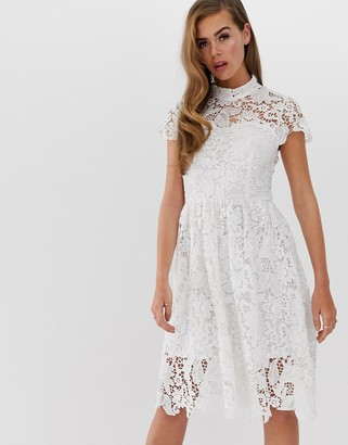 Club L London crochet detail skater dress-White
