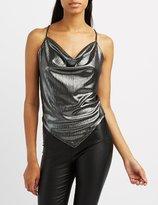 Charlotte Russe Metallic Draped Asymmetrical Top
