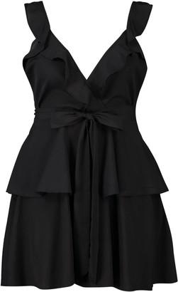 boohoo Plus Ruffle Tie Waist Skater Dress