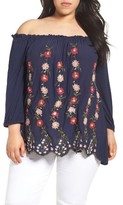 Lucky Brand Plus Size Women's Embroidered Off The Shouldertop
