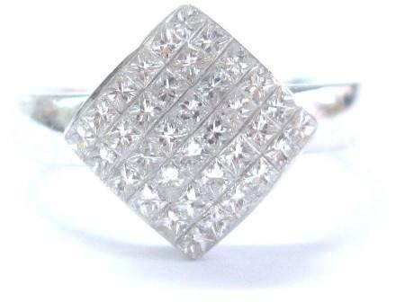 Carriere 18K White Gold 0.75ct Diamond Invisible Setting Square Ring