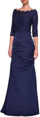 La Femme Sparkle Lace Trumpet Gown