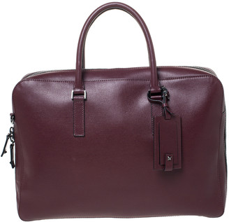 Valentino Burgundy Leather Double Handle Briefcase