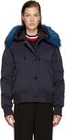 Kenzo Blue Fur-Trimmed Down Jacket