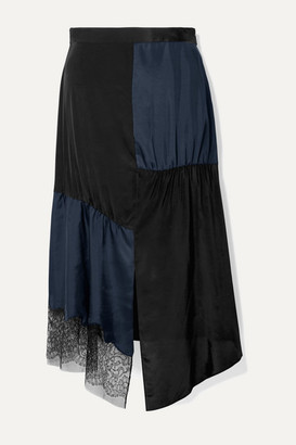 Tibi Paneled Lace-trimmed Satin-twill And Crepe De Chine Midi Skirt - Midnight blue