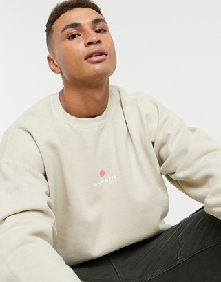 Topman overdye sweat with Berlin print in stone