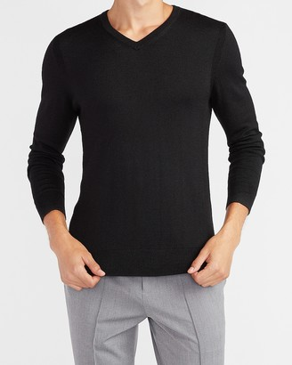Express Merino Wool-Blend V-Neck Sweater