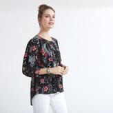 Apricot Black Spring Floral Print Shirt