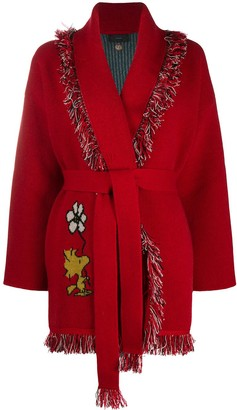 Alanui Snoopy Keep It Clean Cardigan Bright Red