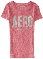 Aeropostale Womens Space-Dye Aero Heathered Graphic T Shirt Red