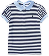 Ralph Lauren Contrast-Collar Striped Top