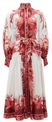 Zimmermann Wavelength Belted Silk-twill Midi Dress - Pink Print