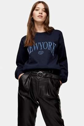 Topshop New York Flocked Sweatshirt
