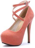 OCHENTA Women Ankle Strap Platform Pump Stiletto Party Dress Heel PU Beige