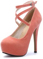 OCHENTA Women Ankle Strap Platform Pump Stiletto Party Dress Heel PU Red