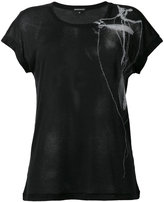 Ann Demeulemeester bead and feather print rib T-shirt - women - Cotton/Lyocell - 34