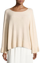 Elizabeth and James Freja Wool-Blend Flutter-Sleeve Sweater, Champagne