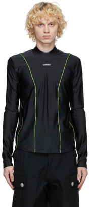 Sankuanz Black and Green Logo Long Sleeve T-Shirt