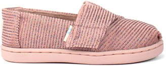 Toms Pink Glitter Rib Knit Tiny Classics