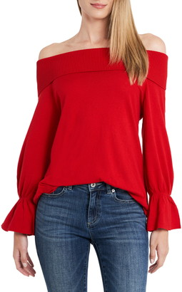 CeCe Off-the-Shoulder Ruffle Sleeve Cotton Blend Sweater