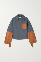 Loewe Cropped Cotton-twill And Leather Jacket - Navy